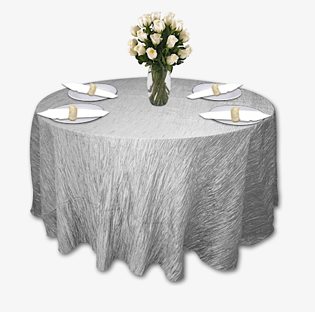 Silver Crinkle Taffeta Table Linen Rental Tablecloth