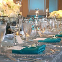 Poly Banquet Chair Covers Ribbons Bows Teal Lamour Pad Cover