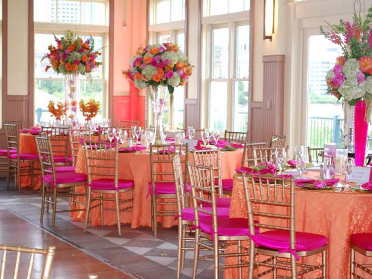 Tangerine Orange Crushed Shimmer Table Linen Rental Tablecloth