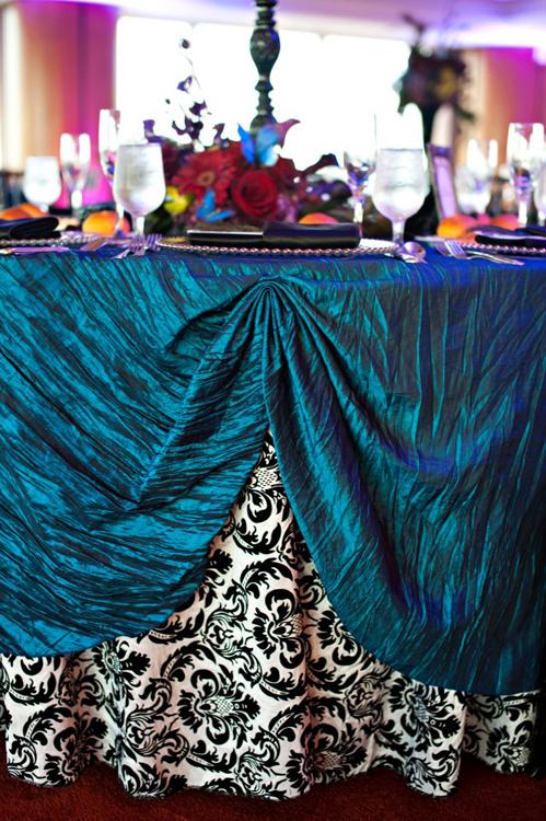Teal Crinkle Taffeta Table Linen Rental Tablecloth