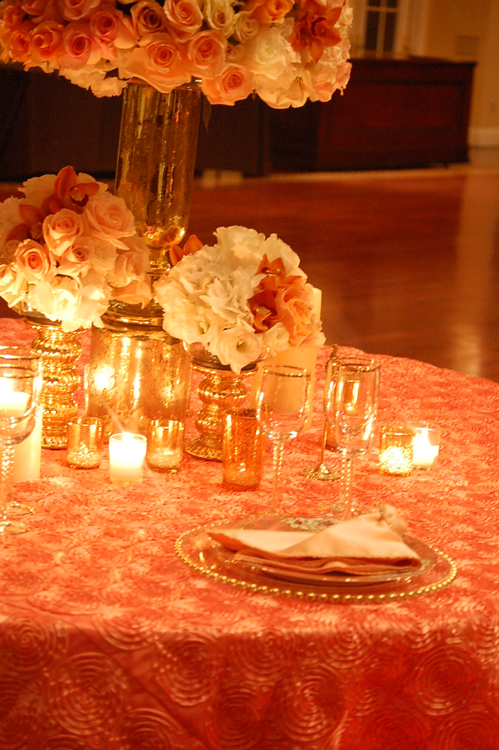 Coral Ribbon Swirl Taffeta Table Linen Rental Tablecloth