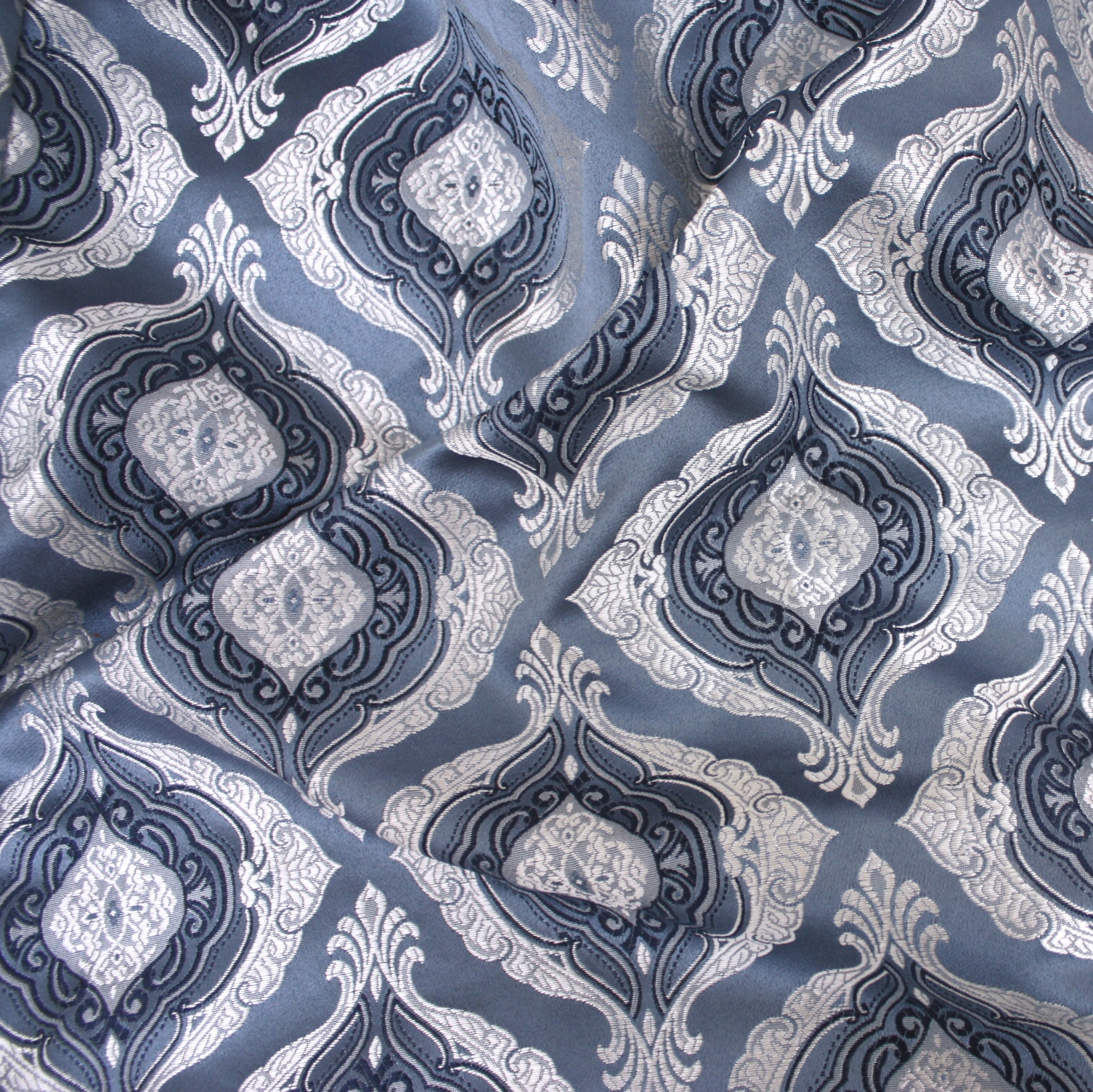 blue chair pads ergonomic large person silver majestic damask table linen rental tablecloth