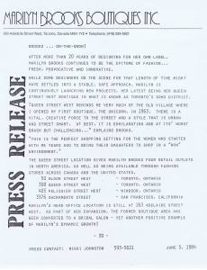 MARILYN BROOKS PRESS RELEASE 1984