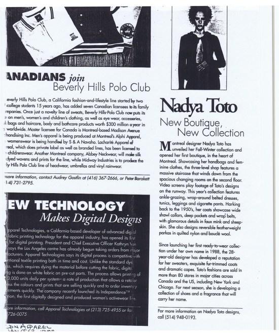 NADYA TOTO CANADIAN APPAREL JANUARY 1998