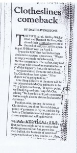 CLOTHESLINES GLOBE AND MAIL 14.03.1991