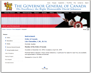 LEO CHEVALIER ORDER OF CANADA  DECEMBER 1978