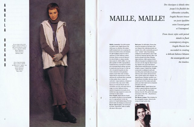 ANGELA BUCARO CREATEURS QUEBEC CLIN D'OEIL FALL WINTER 1993 1994
