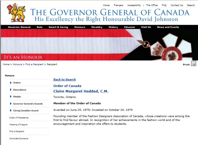 CLAIRE HADDAD ORDER OF CANADA 1979