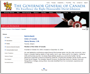 HARRY ROSEN ORDER OF CANADA OCTOBER 2003