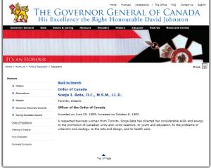 SONJA BATA ORDER OF CANADA