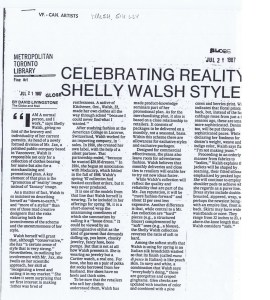 SHELLY WALSH GLOBE AND MAIL  21 07 1987
