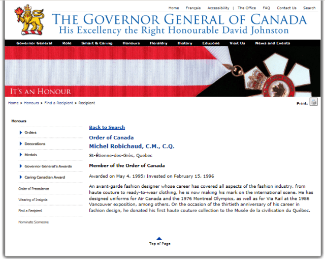 MICHEL ROBICHAUD ORDER OF CANADA 1996