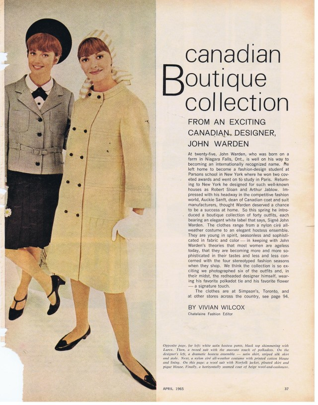 JOHN WARDEN CHATELAINE APRIL 1965