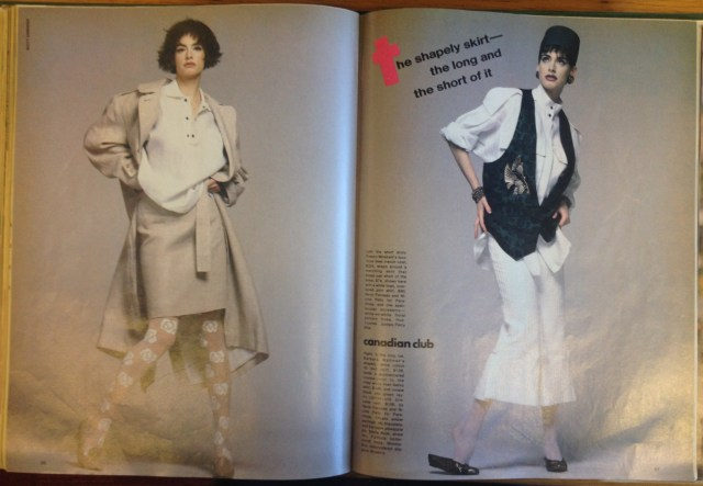 LEFT: SUIT BY FRANCO MIRABELLI, SHIRT BY PARACHUTE,  RIGHT/ SKIRT BY BARBARA WALTMAN, SHIRT AND VEST BY PARACHUTE
