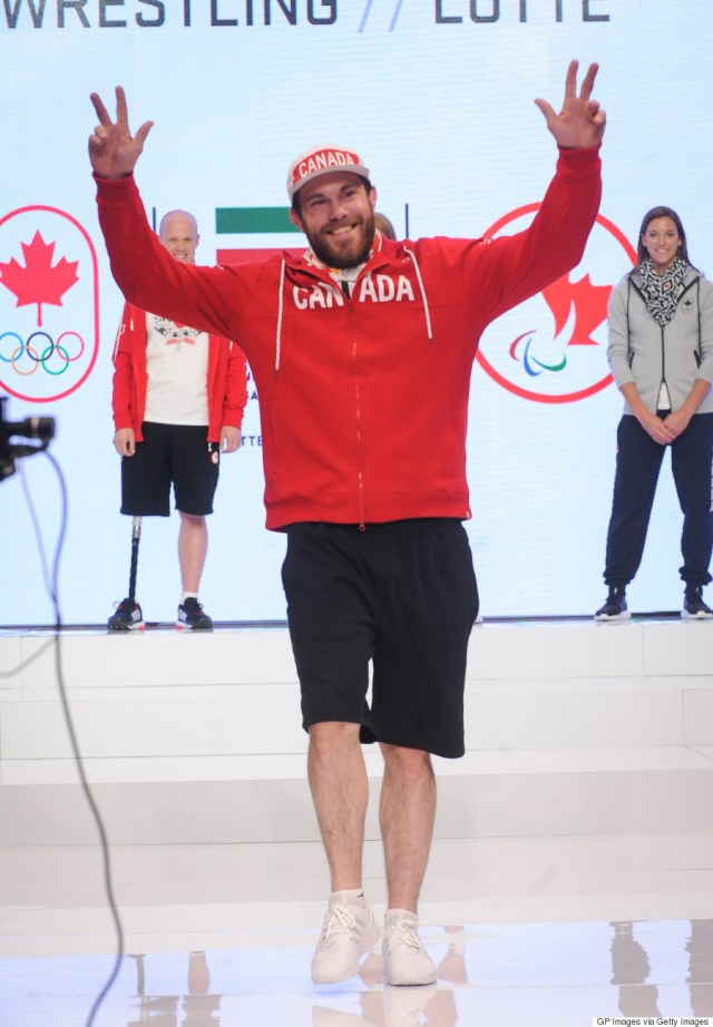 TORONTO, ONTARIO - APRIL 12:  Korey Jarvis attends the Hudson's Bay Company Launch of the Team Canada Collection For Rio 2016 at the Art Gallery of Ontario on April 12, 2016 in Toronto, Canada.  (Photo by GP Images/WireImage)
