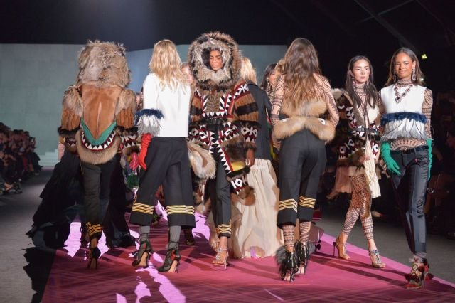 "The finale at Dsquared2's ""Native-meets-Europe"" show. Photo: Victor Boyko/Getty Images"