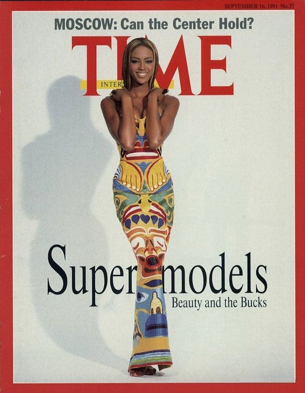Naomi Campbell in the Isaac Mizrahi totem dress on the cover of Time. Photo: Time