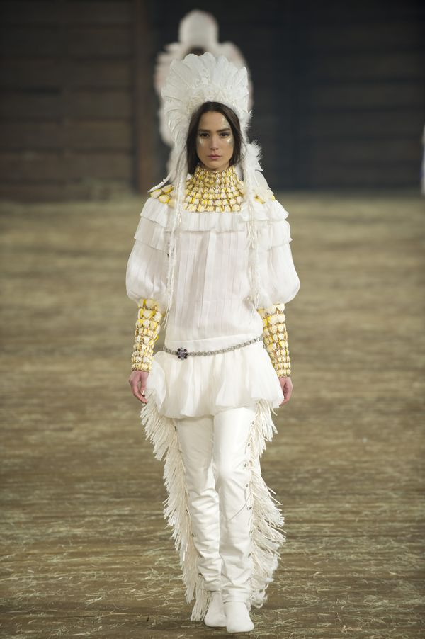 A headdress on the Chanel runway. Photo: Cooper Neill/Getty Images