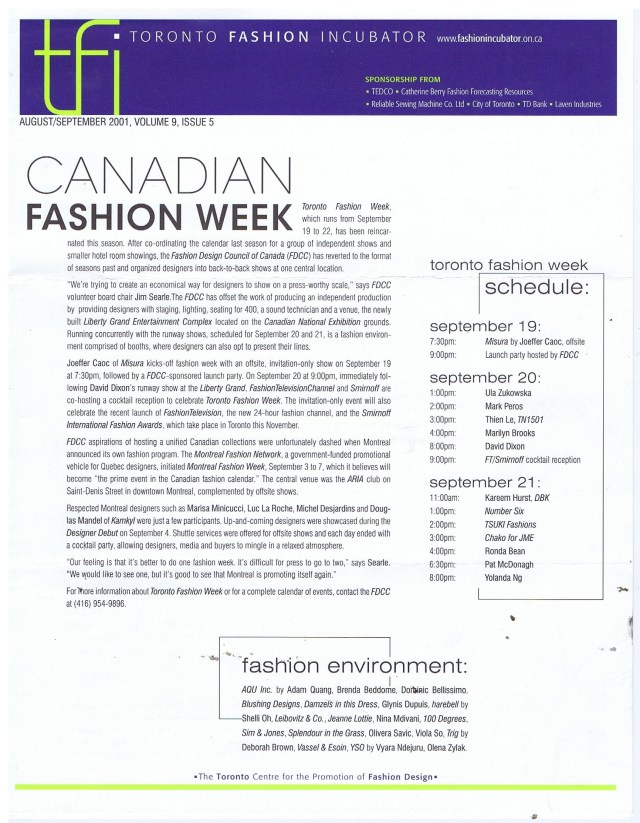 MONTREAL FASHION NETWORK TORONTO FASHION INCUBATOR AUGUST SEPTEMBER 2001