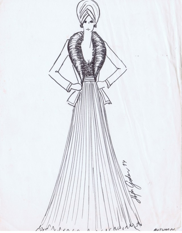 HUGH GARBER DESIGNERS ORIGINAL SKETCH AUTUMN 1974 HGA