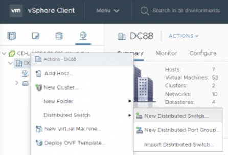 vCenter Distributed switch creation