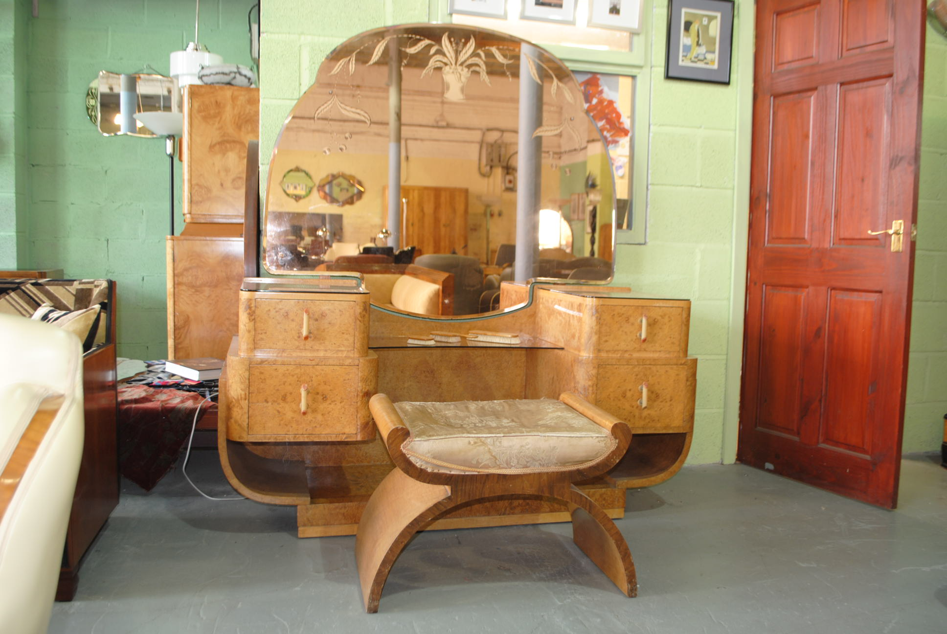 Epstein Art Deco Dressing Table And Stool Cloud 9 Art