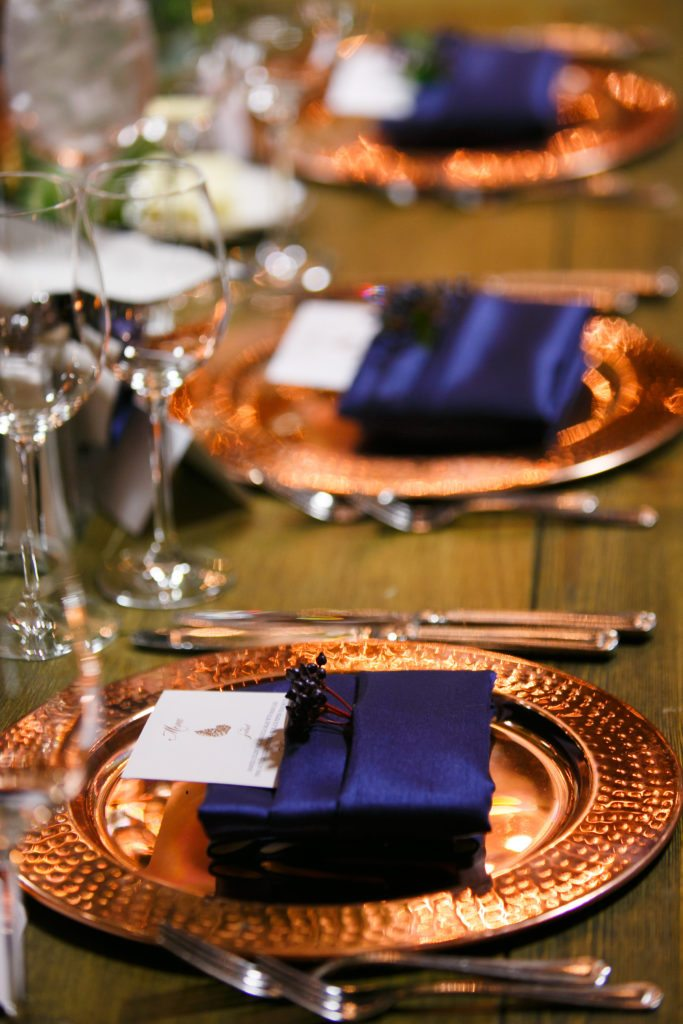 Copper  Navy Fall Wedding at Spruce Mountain Ranch