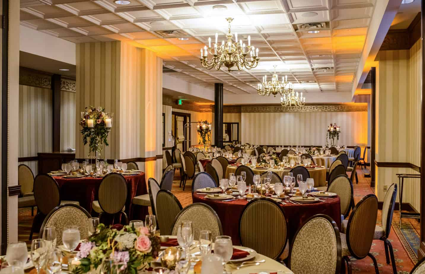 chair covers and linens denver armless patio chairs brown palace hotel fall burgundy gold wedding cloud