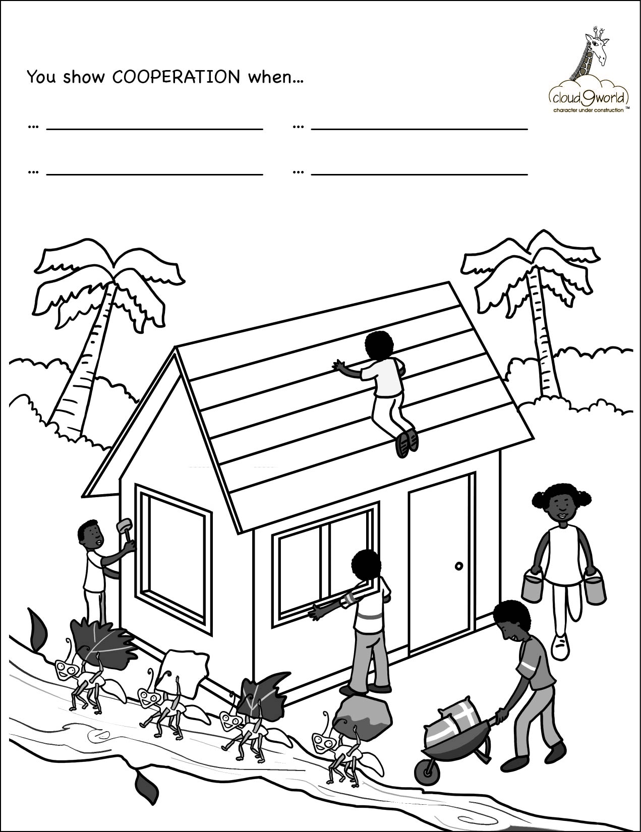 Cooperation Coloring Pages Kids Sketch Coloring Page