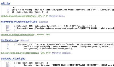 screen capture of google code base