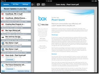 Box - Updates screen