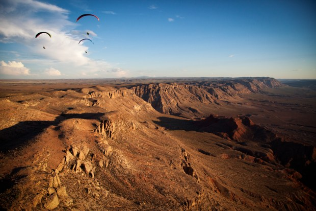 Nick, Gavin and Matt soar outside Zion.  Photo Jody MacDonald