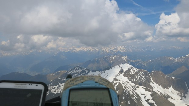 Just after launch, heading west under nice lifty clouds- note the height of 3539 meters. Not bad for 10:30!