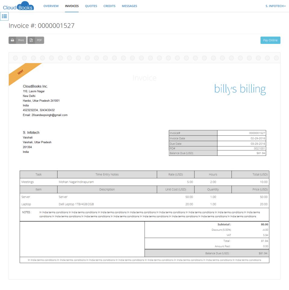 1 - client Unpaid Invoice