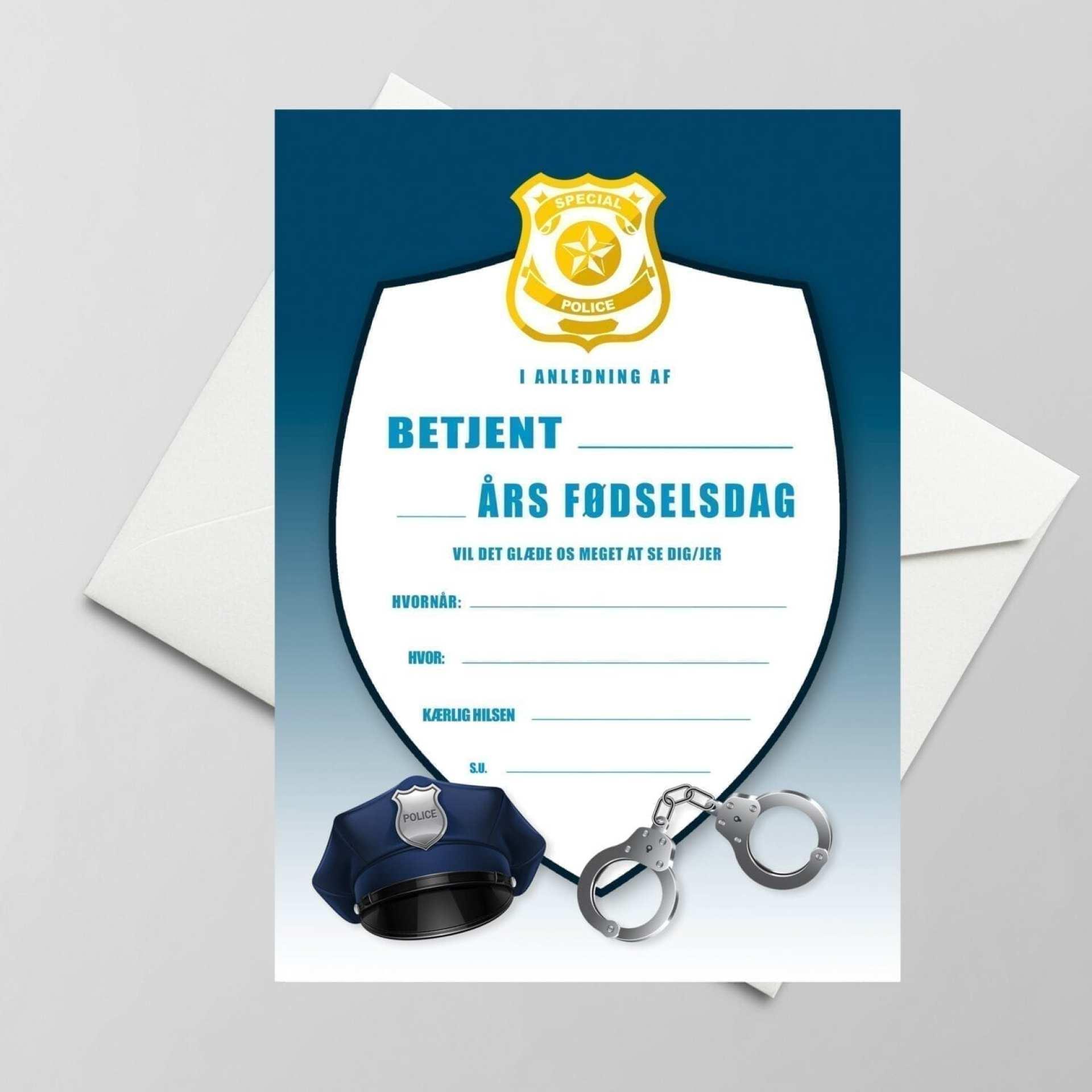 invitation til børnefødselsdag politi