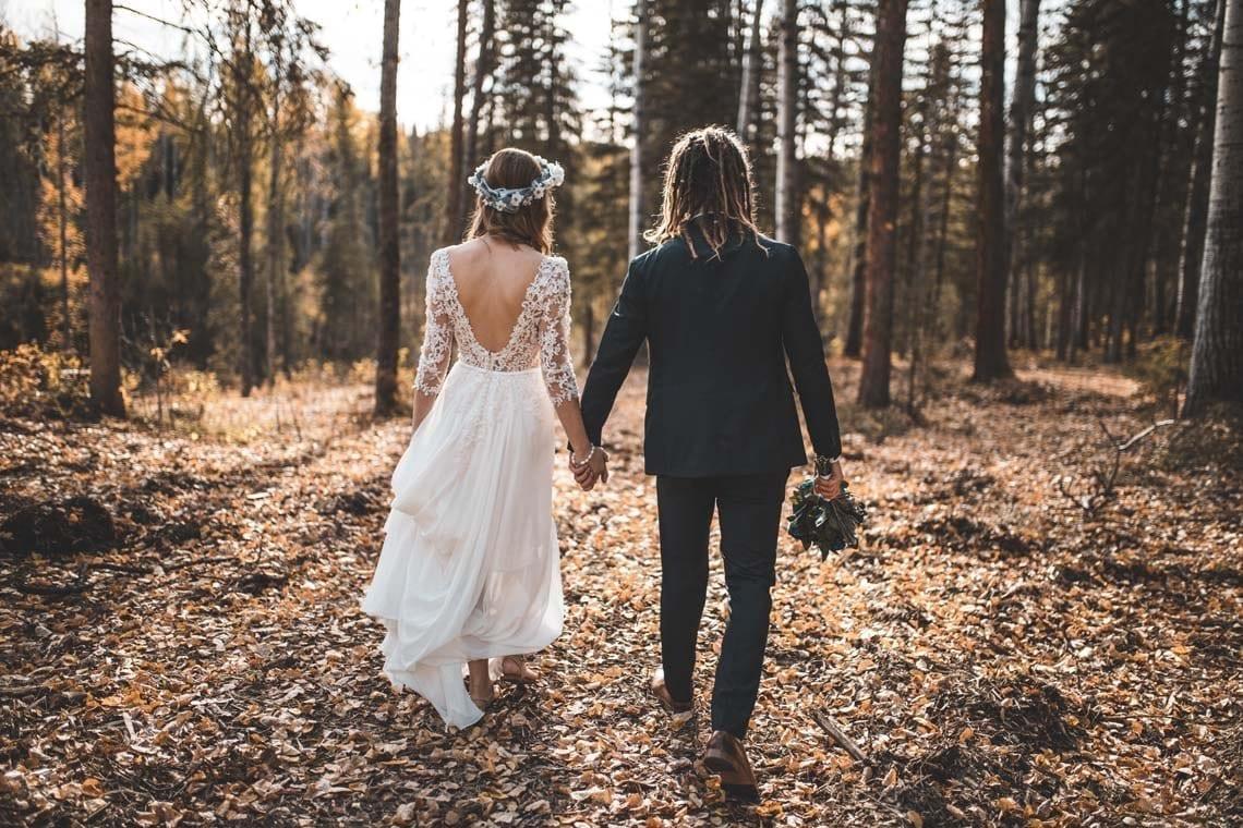 brudepar bryllup efterår