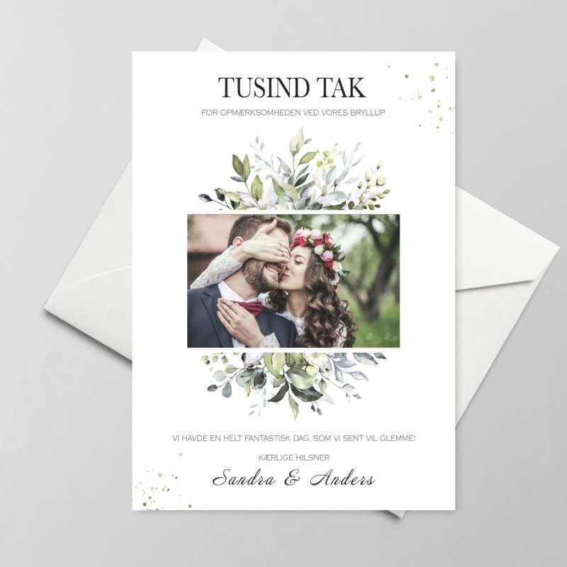 Takkekort bryllup - greenery fame