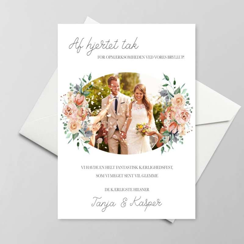 Takkekort bryllup pale rose