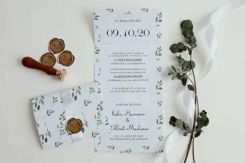 green leaf, rullefals, invitation til bryllup