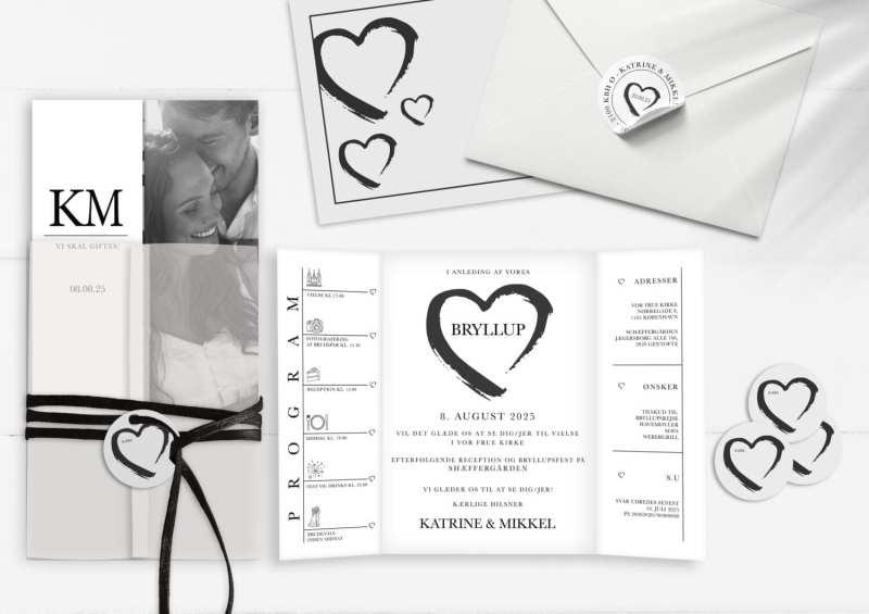 grunge heart invitation til bryllup, hjerter