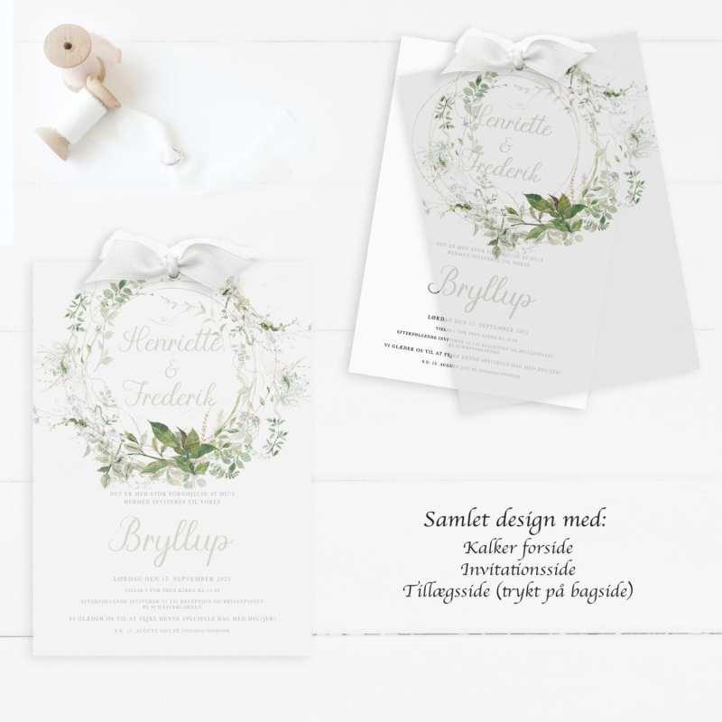 bryllupsinvitation, grøn, kalker