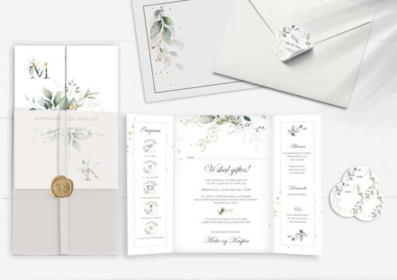 port invitation gold leaf. eukalyptus.
