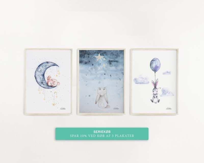 plakat børne plakater unik kaniner ballon måne stjerne