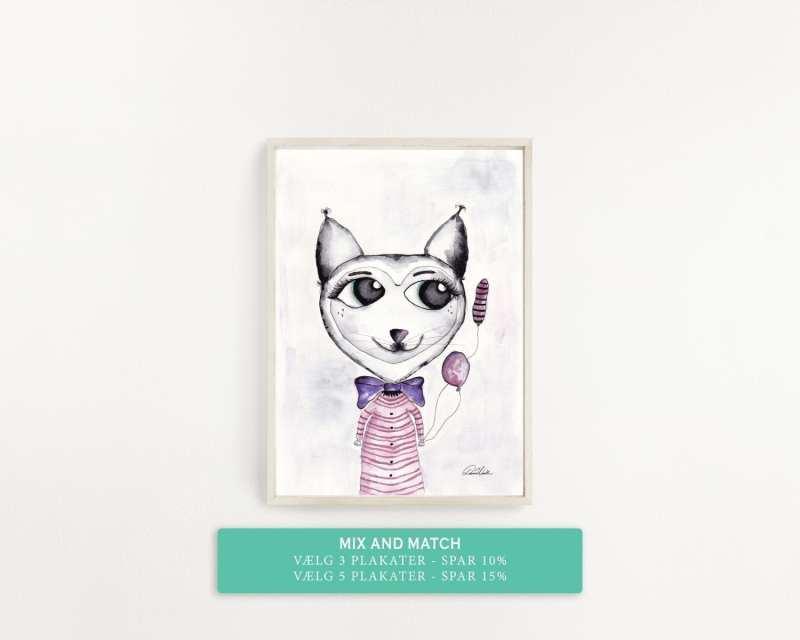 plakat, kattedyr, lyserød, pigeværelse