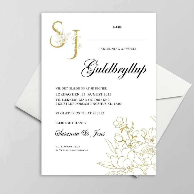 Smuk invitation Guldbryllup