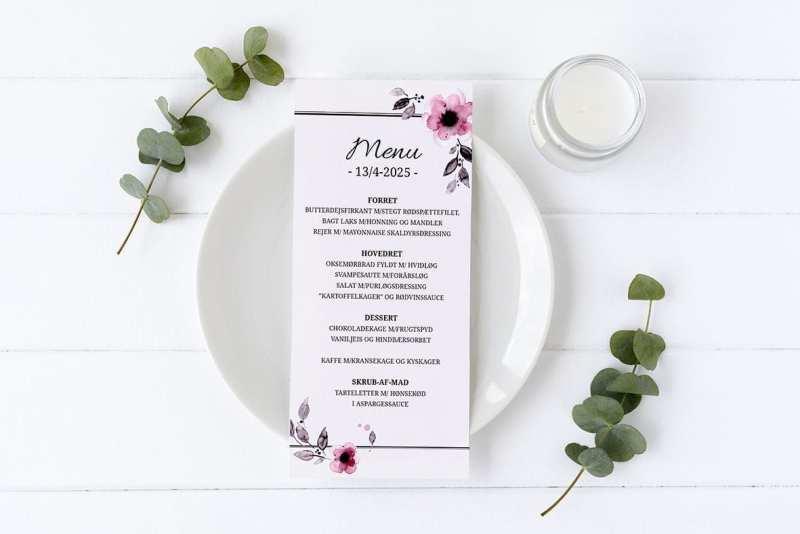 menukort konfirmation pink blomst
