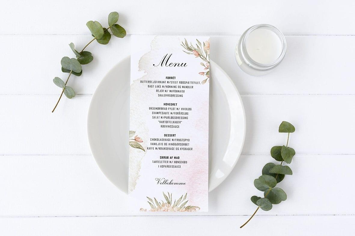 menukort med blomster birgitte
