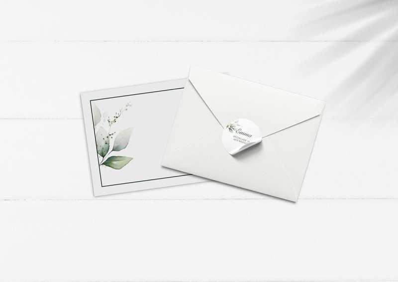 kuvert pakke med stickers grønne grene forår