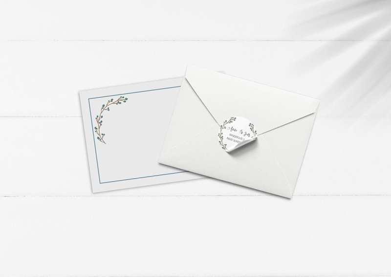 kuvert pakke med stickers blå grene