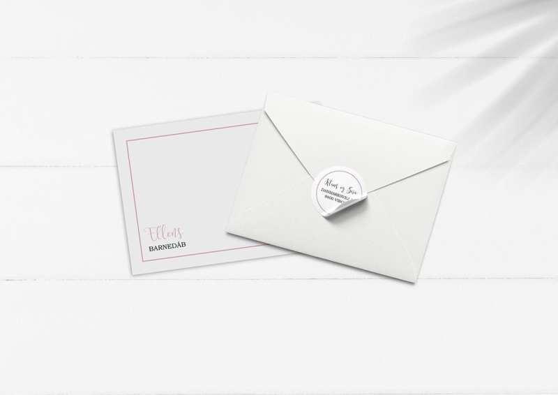 Kuvert sæt lyserød barnedåb
